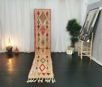 Moroccan Handmade Boujad Runner Rug 2'x11'3 Vintage White Red Geometric Wool Rug