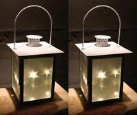 2er Set LED Laterne 3D Holografie Sterne | Aus Metall mit Glas-Einsätzen | 5 LED