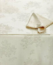 """HOMEWEAR Linens DINNER PARTY Ivory-White NOEL Tablecloth & Napkins 60""""x 84"""""""