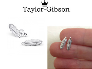925 Sterling Silver Feather Earrings Studs