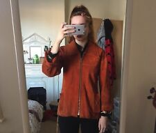 Vintage Retro Orange Rust Suede Mod Jacket 70s Collar Size 10 12 60s