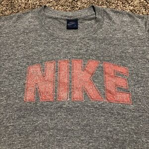 Vintage Nike 80's Block Dome Letters T Shirt Size Large Grey Red