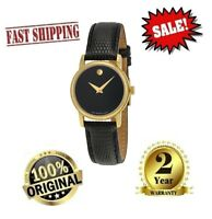 ✅ Movado 2100006 Museum Wrist Black Leather Watch Women