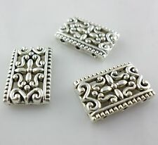 10pcs Tibetan silver Rectangle Carve Flower Charms Spacer Beads
