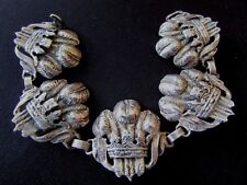 Vintage CINI Sterling Silver Bracelet Repousse Prince Of Wales Crown & Plumes