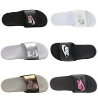 New Women's Nike Benassi JDI Slides Sandals Flip-Flops Black White Sizes 5-11