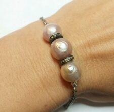 Pink freshwater pearl .3ct pave diamond  925 silver bracelet