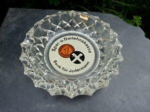 wunderschöner alter Glas Aschenbecher Spar und Darlehenskasse Reklame 1000g