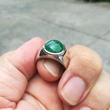 Natural jade jadeite Cabochon loose gem Silver 92.5% ring White Topaz Gift#12