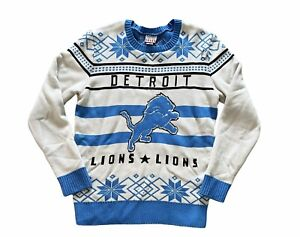 Detroit Lions NFL Junk Food Crew Neck Ugly Christmas Sweater Snowflakes