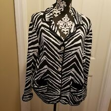 Chicos Sweater Zebra cardagen silver buttons size XL