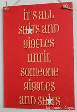 Giggles & Sh*ts Red Sign - naughty cute bar woman cave man cave wooden shed sign
