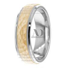 Hammered & Milgrain Design Wedding Ring Solid 10K Gold Two Tone Wedding Band 6mm