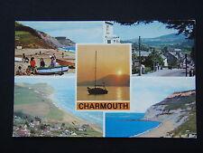 CHARMOUTH BEACH MAIN ST SUNSET VILLAGE GOLDEN CAP POSTCARD
