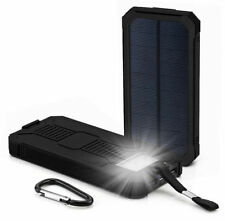 Waterproof 300000mAh Portable Solar Charger Dual USB Battery Power Bank Black