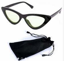 Cat Eye Sunglasses Black Frame Black Lens Shades with Pouch - BLACK/CLEAR