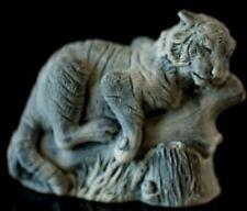 Tiger marble statue, Russian stone art realistic small animal sculpture