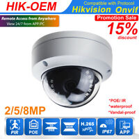 4K 8MP Hikvision Compatible 5MP 2MP PoE Dome IP Camera POE Home security outdoor