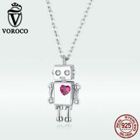 Voroco Women CZ Love robot Pendant Solid S925 Sterling silver Necklace Jewelry