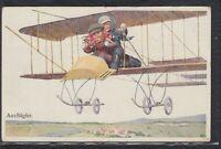 MOT 35823) Künstler AK Karl Feiertag Ausflügler Kinder im Flugzeug 1917