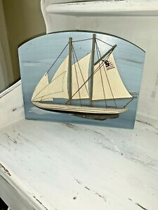Warren Kimble Nautical Decor 3D Sailboat American Flag Plaque Wall Shelf ❤️tw11j
