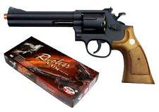 "TSD UHC Airsoft Spring Pistol Gun .357 Revolver Black Wood 6"" UA934BW w/ Shells"