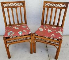 Set of 2 Vintage MCM Bamboo Rattan Side Dining Accent Chairs with Asian Cushions