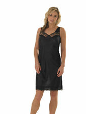 Womens Black Full Length Slip Petticoat Chemise Broad Straps Womens Sizes 10-32