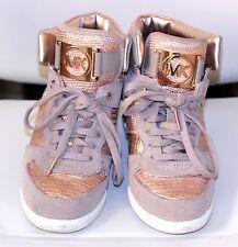 Michael KORS Nikko HighTop hidden Wedge MK Logo Signature Rose Gold 8 M
