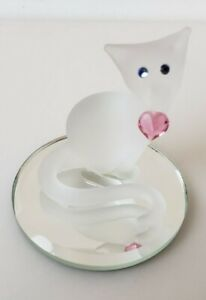 Vintage ~ Glass Baron ~Glass White Cat With Blue Eyes And Pink Heart