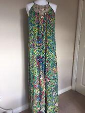 Ladies Monsoon Originals Multi Colour Maxi Dress Silk Embellished Uk14