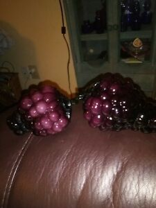 Set of 2 Murano Style Blown Art Glass Fruit 2 Purple Grapes