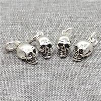 4pcs of 925 Sterling Silver Skull Charms Punk Skeleton Pendants