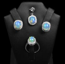 Natural Ethiopian Fire Opal 925 Sterling Silver Jewelry Set Ring Earring Pendant