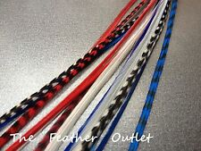 Lot 20 Grizzly Feathers Hair Extensions saddle Natural Red White Blue France USA