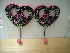 2 Wood Pink Black Heart Peace Metal Ball Hook Girl Bed Room Wall Sign Plaque Set