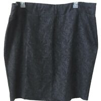 Elle skirt Size 2X dark gray floral knee length womens stretch knit