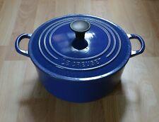 Genuine Le Creuset Blue Cast Iron Round 22cm Casserole Dish Pot Pan With Lid