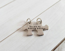 Puzzle Piece Charm Pendant Autism Awareness Antiqued Silver Quote Charm w/ Rings