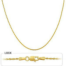 "2.80 gm 14k Yellow Gold Solid Diamond Cut Rope Women's Necklace Chain 18"" 1 mm"