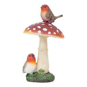 Robin Birds on a Mushroom Garden Ornament Outdoor Decoration Statue