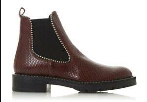 Dune Ladies PRESTIGE Studded Chelsea Boots BURGUNDY UK SIZE 5 EUR 38
