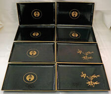 Set of 8 Black with Gold Decoration Lacquerware Trays ONO Made in Japan