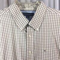 Tommy Hilfiger mens XL ss cotton button down shirt black beige windowpane check