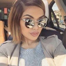 DEF Clear Kosha Cat Eye Rounded Lucia Mirror Lenses Women Reflective Sunglasses