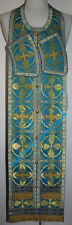 "Communion Priest Set Stole Cuff  Russian Orthodox BLUE GOLD  43 3/4"" 111 cm"