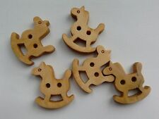 10 Wood Rocking Horse-shaped Buttons, Brown. Sewing/Textiles/Jewellery Making