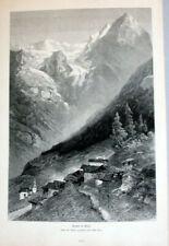 Trafoi Südtirol, Dolomiten, Italien. Gesamtansicht - Holzschnitt von 1878 **