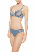 La Perla Begonia Collection 34D S Full Cup Bra Panty Set Sheer Lace Sky Blue New