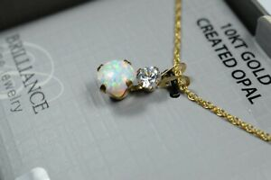 """NEW 10k Solid Yellow Gold Opal & CZ Pendant with 18"""" Chain"""